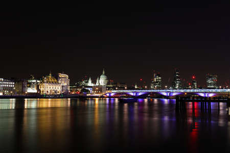 saint pauls cathedral: Night time view River Thames