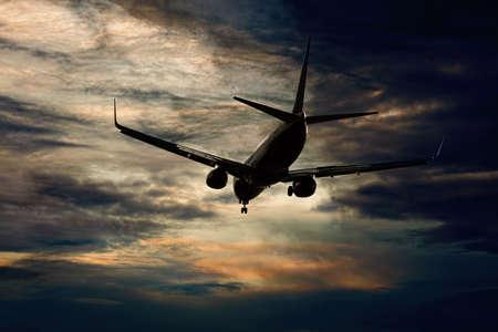 passenger aircraft: Passenger aircraft flying evening flight