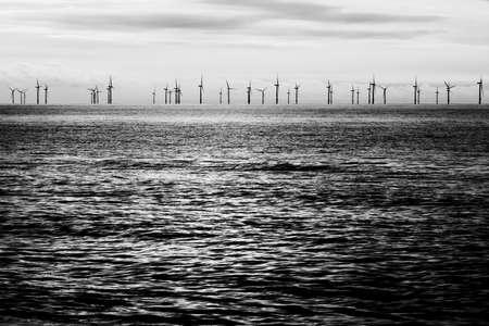 wind farm: Offshore wind farm black and white Stock Photo