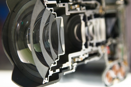 inside view of dslr camera split in half photo