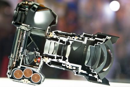 inside view of dslr camera split in half photo
