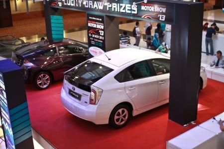 lfa: KUALA LUMPUR, MALAYSIA - NOV 15  Prius and Crz displayed at Lumpur International Motorshow  KLIMS for lucky draw on November 15, 2013 in Kuala Lumpur Malaysia  Editorial