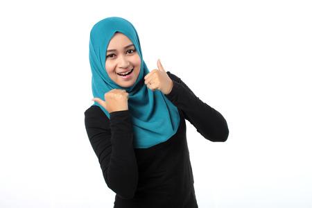 hijab: Asian girl doing a good sign Stock Photo