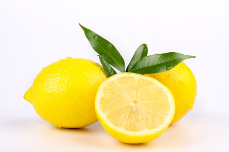 bodyparts: multiple lemon with fresh and delicious color isolated in white Stock Photo