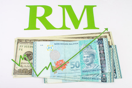 green arrow: malaysian and the united states of americas money with green arrow and malaysia ringgit sign isolated on white background Stock Photo