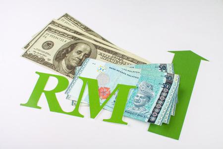 fleche verte: �tats de la Malaisie et les �tats-de l'argent de l'Am�rique avec une fl�che verte et la Malaisie Ringgit signe