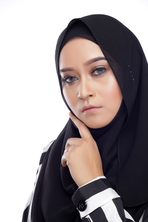 muslimah: Asian beautiful muslimah woman with natural face expression on white background