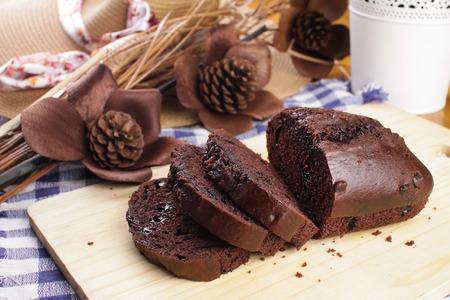 pound cake: chocolate chip pound cake sliced Stock Photo