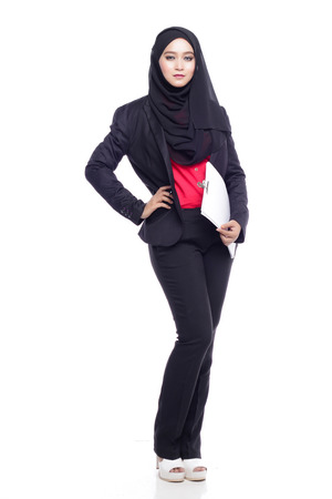 office attire: beautiful corporate muslimah woman with office attire as executive position
