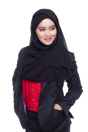 office attire: beautiful corporate muslimah woman with office attire