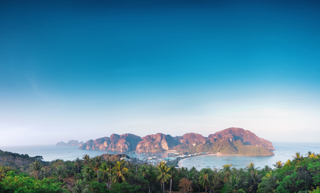 phi phi: panorama view of phi phi island from view point at morning Stock Photo
