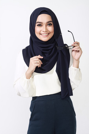 muslimah: beautiful asian muslimah woman with office attire showing different expression