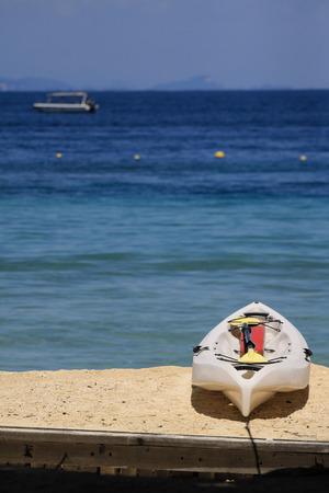 kayak at white beach sand Stock Photo