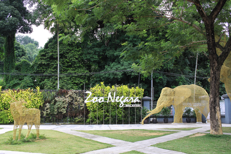 KUALA LUMPUR, MALAYSIA - 26 JULY 2016. Zoo Negara entrance park. Zoo Negara have a total of over 5137 specimen from 476 species of mammals, birds, reptiles, amphibians and fish.