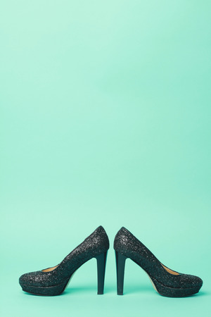 black heels: beautiful black heels in turquoise background