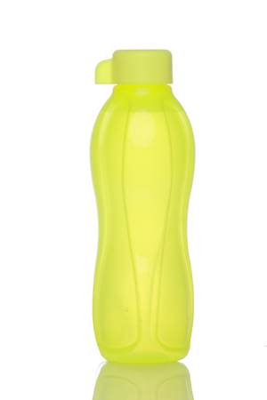 green drinking water bottle isolated in white background. Stock Photo
