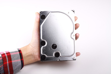 hard disk: harddisk isolated in white background