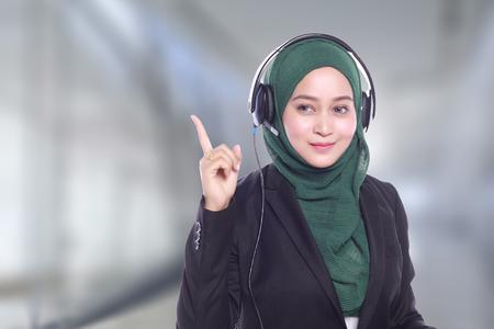 smiling helpline operator on blur background