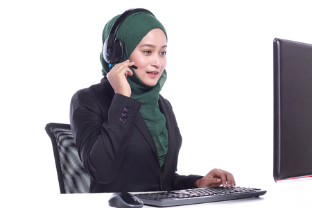 virtual assistant: young muslim women helpline operator talking isolated on white background