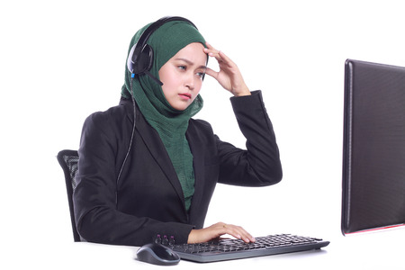 virtual assistant: young muslim women helpline operator stress with customer isolated on white background