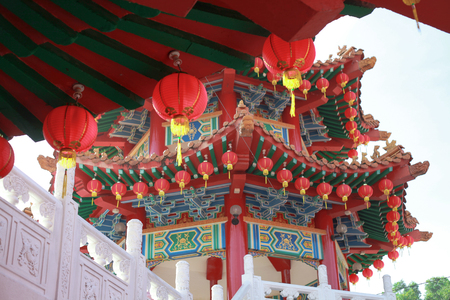 Kuala Lumpur, Malaysia - JANUARY 28, 2017. Thean Hou Temple on Chinese New Year Celebration 2017 with traditional chinese lantern.