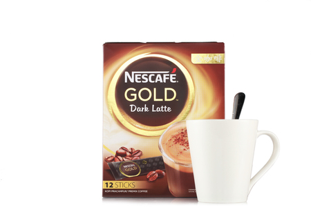Shah Alam, Malaysia - FEBRUARY 17, 2017  illustrative editorial nescafe gold drink product shot with glass  isolated on white background