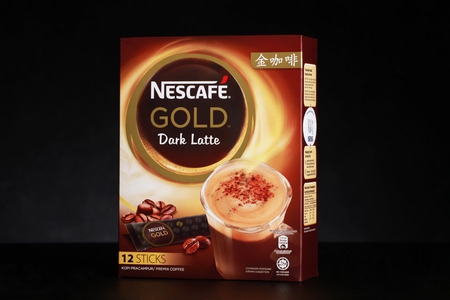 Shah Alam, Malaysia - FEBRUARY 17, 2017  illustrative editorial nescafe gold drink product shot isolated on black  background