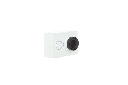 action camera isolated with white background