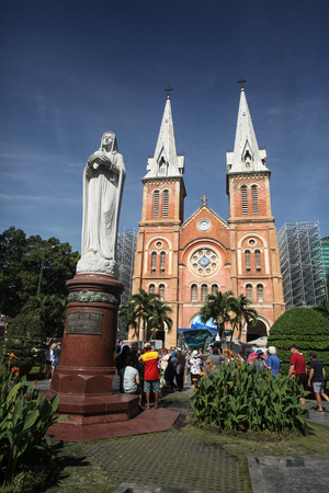 Ho Chi Minh City, Vietnam - 30 December 2017. Notre-Dame Cathedral Basilica of Saigon, officially Cathedral Basilica of Our Lady of The Immaculate Conception is a cathedral located in the downtown of Ho Chi Minh City, Vietnam.