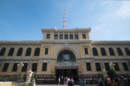 Ho Chi Minh City, Vietnam - 30 December 2017. Saigon Central Post Office is a post office in the downtown Ho Chi Minh City, near Saigon Notre-Dame Basilica, the citys cathedral.