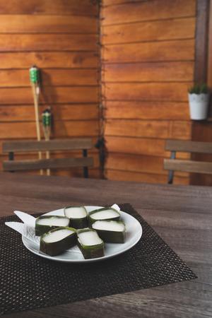 delicious malaysian traditional food    tepung pelita on wood theme background Stock Photo