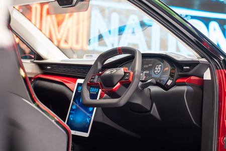 Kuala Lumpur, Malaysia - 23 November 2018. Perodua X concept close up detail shot at kuala lumpur motorshow.