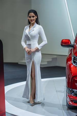 Kuala Lumpur, Malaysia - 23 November 2018. Grid girl at kuala lumpur motor show.