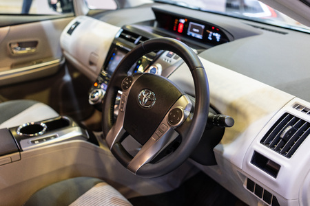 singapore -12 january 2019. the new toyota prius plus at singapore motor show. Editorial