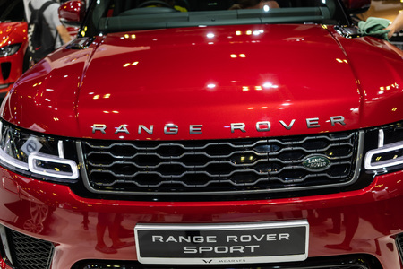 singapore -12 january 2019. range rover sport front grill design at singapore motor show Editorial