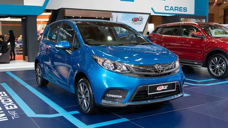 kuala lumpur, malaysia - 16 april 2019. proton new model iriz at kuala lumpur motor show Editorial