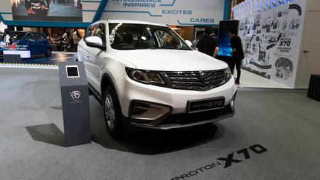 kuala lumpur, malaysia - 16 april 2019. proton new model x70 in kuala lumpur motor show