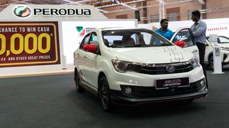 kuala lumpur, malaysia - 16 april 2019. perodua bezza new body kit introduced in kuala lumpur motor show.
