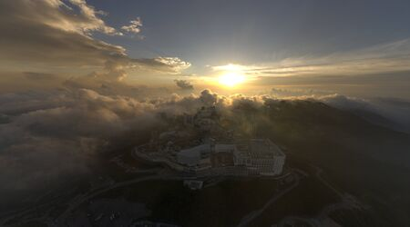 Malaysia Genting Highland high angle view with beautiful cloud. noise are existed in a drone photography