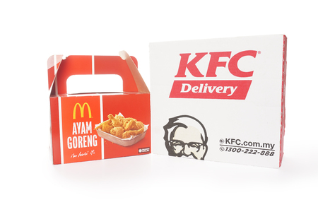 Shah Alam, Malaysia - 1 November 2019,Box of KFC and McDonalds Packaging isolated on white background.