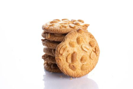 peanut cookies close up shot on white background