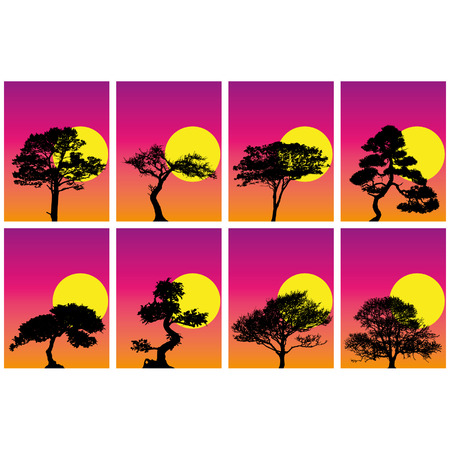 8 tree silhoeuttes in sunset background Vector
