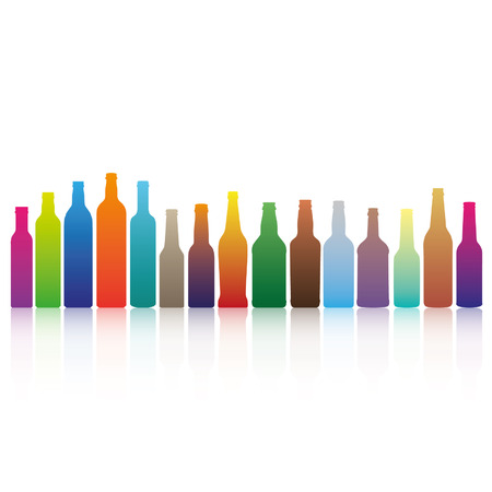 Collection of different bottles in different gradient colors Vector