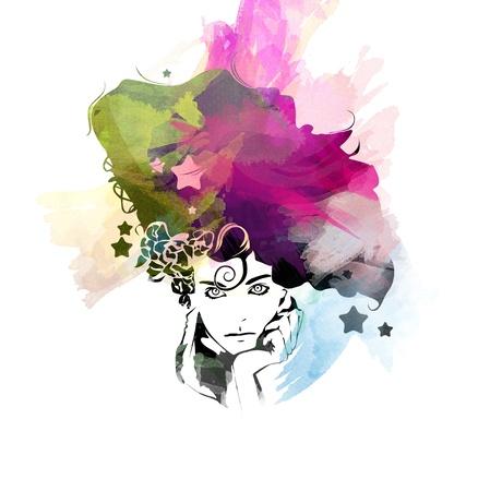 moods: Watercolor girl illustration