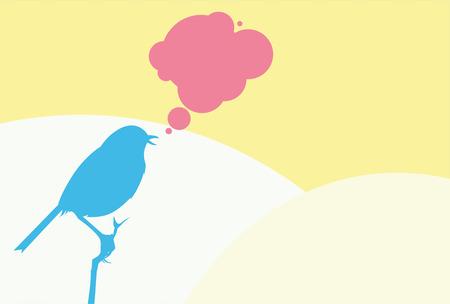 tweeting: Tweeting blue bird on yellow background.