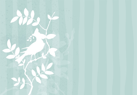 Silhouette of a bird standing on a branch with floral elements and grunge details on stripped and faded turquoise background. Vector