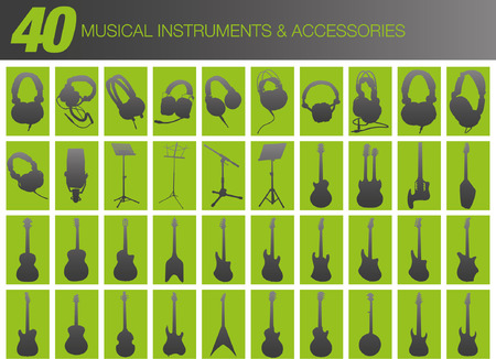 logo rock: 40 Instruments de musique et accessoires Illustration