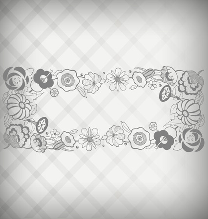 gravure: Vintage looking floral name plate on silver checked background Illustration