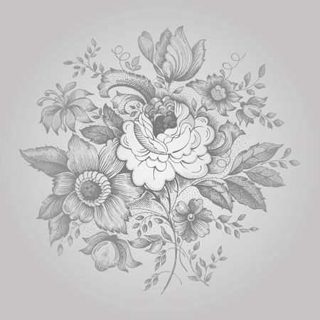 embroidery flower: Vintage flower embroidery ornament in silver colors