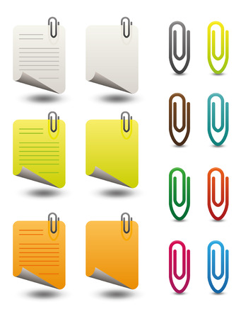 icon set of note papers and paperclips in various colors Vector